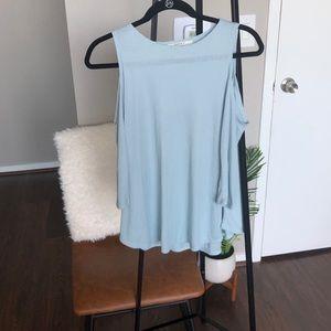 😊3/$20 Pale Blue Cold Shoulder Top